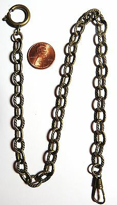 "Vintage Pocket Watch Fob Brass Chain 15"" Long"