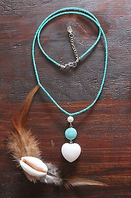 Gorgeous Handmade Turquoise Glass Beads & Jade Heart Pendant Long Necklace