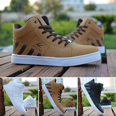 NEW Men's Casual Shoes Trainning Sports Leather Shoe High Top Man Sneakers Shoes