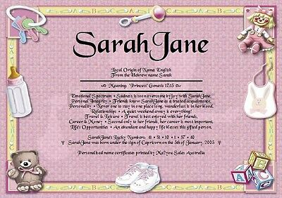 Peronsalised Gift - First Name Meaning Certificate Newborn Baby Girl Welcome