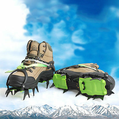 14-Teeth Ice Snow Climbing Walking Boot Shoe Cover Spike Cleats Crampons Gripper