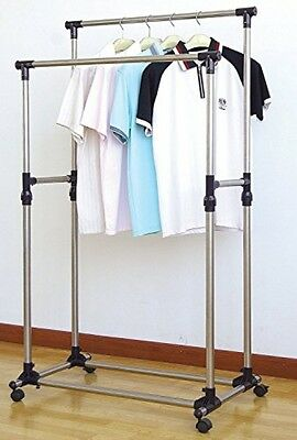 Garment Rack Shelf Clothes Hanger and Portable Heavy Duty Double Rail Adjustable