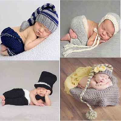 Baby Newborn Girls Boys Knit Crochet Hat Costume Photo Prop Photography Outfits