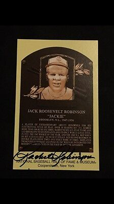 Jackie Robinson Signed Autographed Hof Yellow Postcard Signed By Rachel Robinson