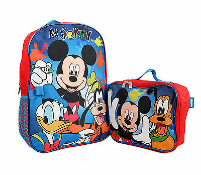 """Disney 16 """" Mickey Mouse & Friends School Backpack Bag with Lunchbox Bag"""