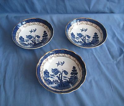 """Booths REAL OLD WILLOW SOUP / DESSERT BOWLS x 3 - 6¼"""" - GOOD COND"""
