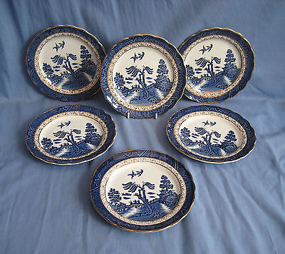 """Booths REAL OLD WILLOW SIDE PLATES 6¾"""" x 4 - PLUS GET TWO FREE"""