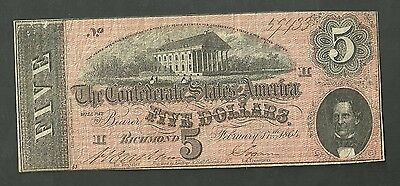 1864 Confederate States Of America 5 Dollar Currency Note Series 1 Richmond V.A.