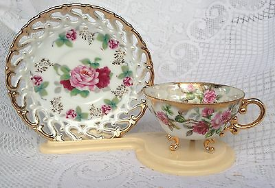 Shafford Hand Decorated Japan 3 leg Gold/Roses Tea Cup & Saucer (219)
