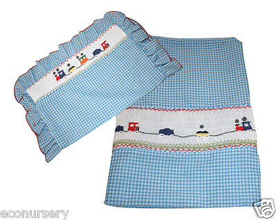"Aurora Blue Gingham Hand Embroidered "" Express Train"" Duvet Cover & Pillowcase"