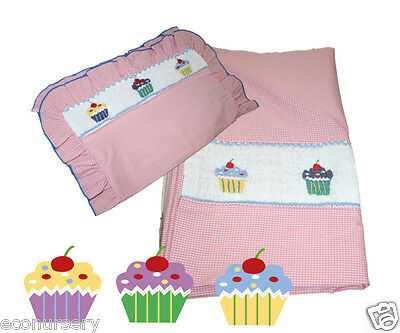 "Aurora  Gingham Hand Embroidered Smocked ""Cupcakes"" Duvet Cover & Pillow case."
