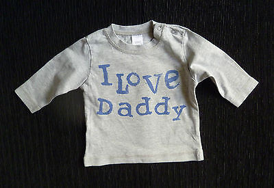 "Baby clothes BOY newborn 0-1m NEXT grey/mid-blue ""I love Daddy"" long sleeve top"