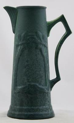 """Hampshire 9.5"""" Ewer W/arts & Crafts Floral Motif In Blue Frosted Glazes Mint"""
