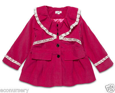 Baby, toddlers Pink Corduroy Smart Coat. Collar adorned with Lace.12m,24m,3Y,4Y.