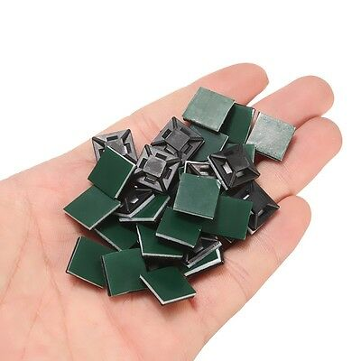 100Pcs Plastic Self-Adhesive Rectangle Wire Cable Zip Tie Clip Clamp Mount New