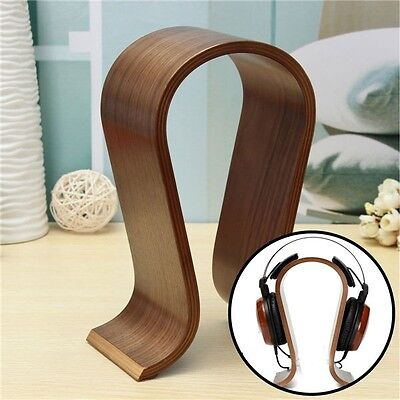 Wooden U-shape Display Gaming Headphone Stand Hanger Holder For Headset Earphone