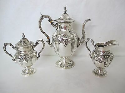 Fantastic Fisher Victoria 3 Piece Sterling Silver Tea Set