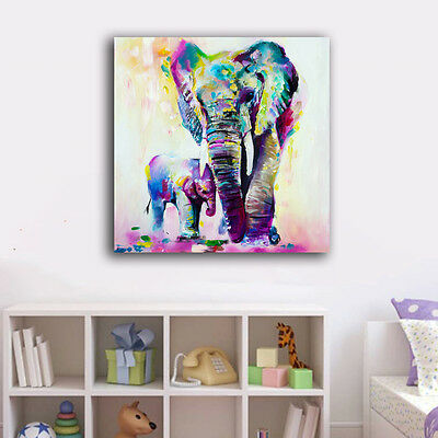 Baby Mum Elephant Stretched Canvas Prints Framed Wall Art Home Decor Kids Gift