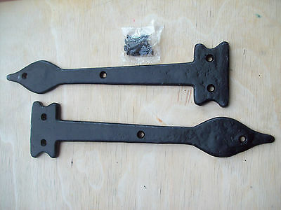 Pair Of BLACK ANTIQUE CAST IRON DOOR GATE LEAF OLDE DUMMY FALSE HINGE FRONTS