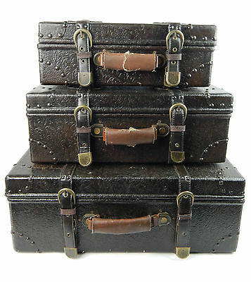 Set 3 VIntage Style Steamer Trunk Dark Brown Decor Luggage Storage Nesting Props