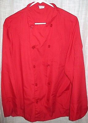Size Medium Red KNG Chef Cook Coat Culinary Lightweight 10 Button Line