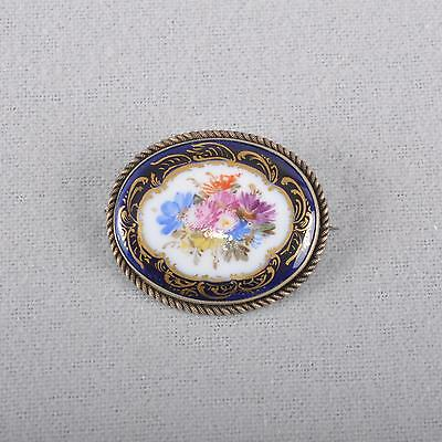 Meissen flowers bouquet cobalt & gold jewellery brooch, 1.choice