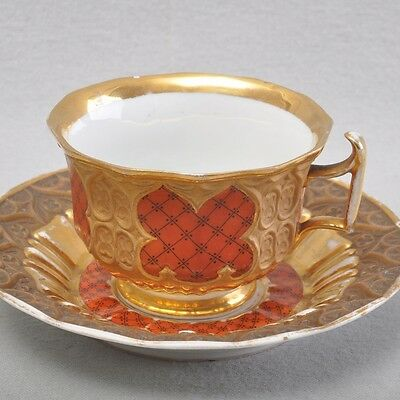 Meissen gothic cup splendour cup, lattice design, red & gold, around 1850, rare