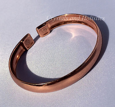 MAGNETIC Solid Copper PLAIN CURVED Bracelet Bangle Healing Relief Arthritis M7