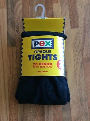 Pex Twin Pack 70 Denier Navy Opaque Tights- Size - Small Lady 36-42 Hips BNWT