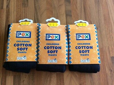 Pex Baltic Navy Cotton Soft Tights - Age 2-3 PAIRS. BNWT