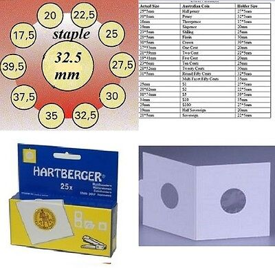 25 HARTBERGER staple 2 x 2 coin holders:32.5  mm made in the Netherlands