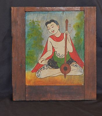 Old  Burmese Painting On Wood Panel Handsome Musiscian With Tattoo Hand Painted