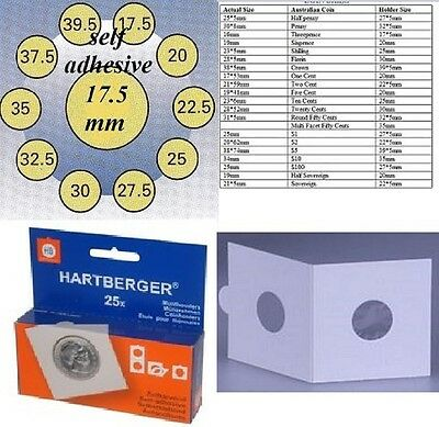 25 HARTBERGER self adhesive  2 x 2 coin holders:17.5 mm made in the Netherlands