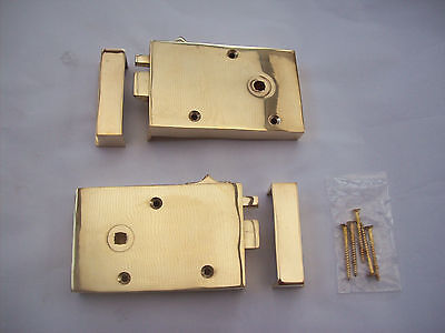 Solid Cast Polished Brass Old English Style Bedroom Door Rim Latch + Snib