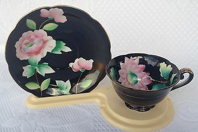 Made in Japan Black with Pink Flowers Tea Cup & Saucer (231)
