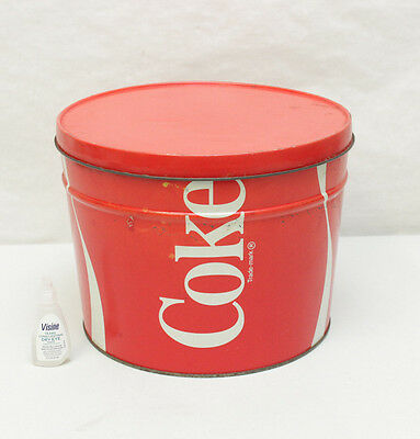 Vintage Coke Tin Bertels Can Co CocaCola Round Large Red Decorative Advertising
