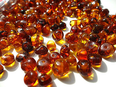 NATURAL BALTIC AMBER HOLED LOOSE ROUND BEADS 10gr
