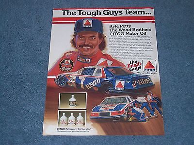 "1986 Citgo Motor Oil Vintage Kyle Petty Wood Brothers Ad ""The Tough Guys Team..."