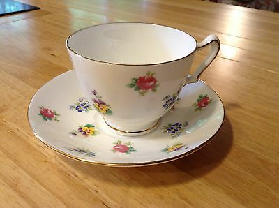 Vintage Crown Staffordshire English Bone China Floral Cup and Saucer