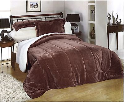 Down Alternative Super Soft Plush Sherpa Hypo Allergenic Comforter Blanket Brown