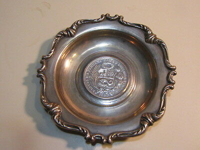 Antique Sterling Silver Ash Tray With Peruvian Coin 1893 75.2 G.