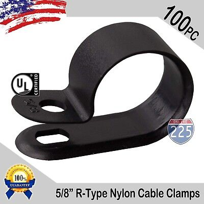 """100 PCS PACK 5/8"""" Inch R-Type CABLE CLAMPS NYLON BLACK HOSE WIRE ELECTRICAL UV"""