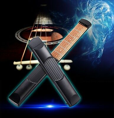 New Wooden Pocket Guitar Practice Tool Gadget Chord Trainer 6 Fret Portable