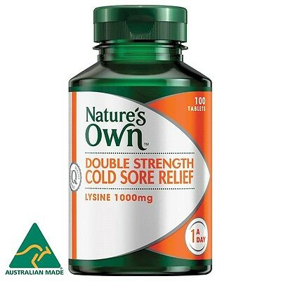 Nature's Own Cold Sore Relief, L-Lysine 1000Mg 100 Tablets Double Strength