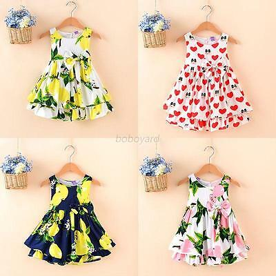 2-6Y Girl Baby Toddler Kid Floral Clothes Sleeveless Flower Princess Dress Party
