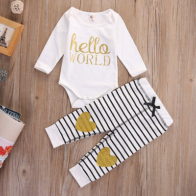 2Pcs Newborn Baby Girls Tops Romper +Stripe Long Pants Outfits Set Clothes 0-18M