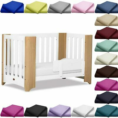 200 Thread Counts Plain Fitted Cot Bed Sheets Cotton Cover Baby Room Beddings