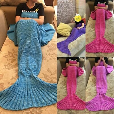 UK New Mermaid Tail Handmade Crocheted Cocoon Sofa Blankets Beach Quilt Rug Knit