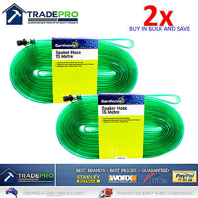 2x Soaker Hose 15m PRO Quality Earthcore® Garden Lawn Sprinkler Water Drip Tube