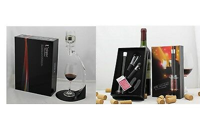 Wine Opener Air Pump Set & Unique Wine Decanter w/ Holder Bundle– Model AUS102